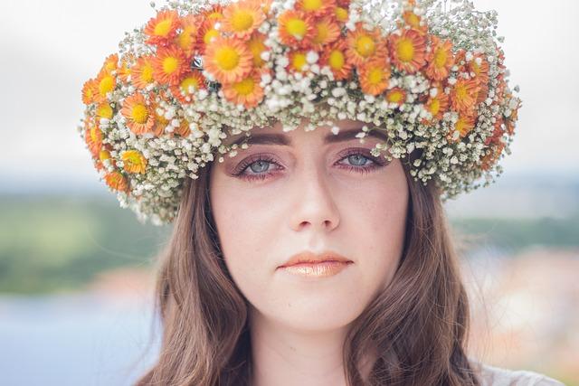 Brunette, Face, Female, Flowers, Lady, Model, Petals