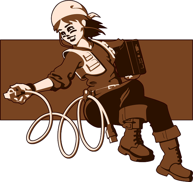 Computer, Female, Girl, Laptop, Abseiling, Rappelling