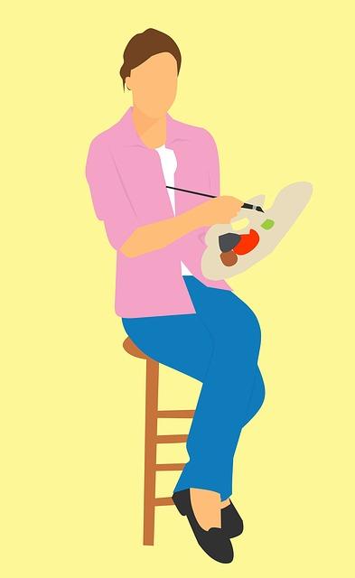 Design, Artist, Female, Full, Length, Paintbrush