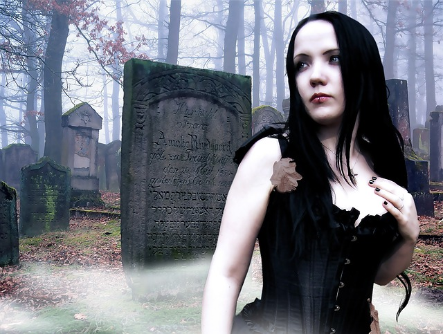 Gothic, Fantasy, Female, Gothic Model, Cemetery