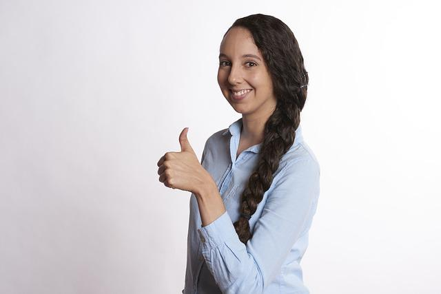 Woman, Thumbs Up, Smiling, Female, Young, Happy