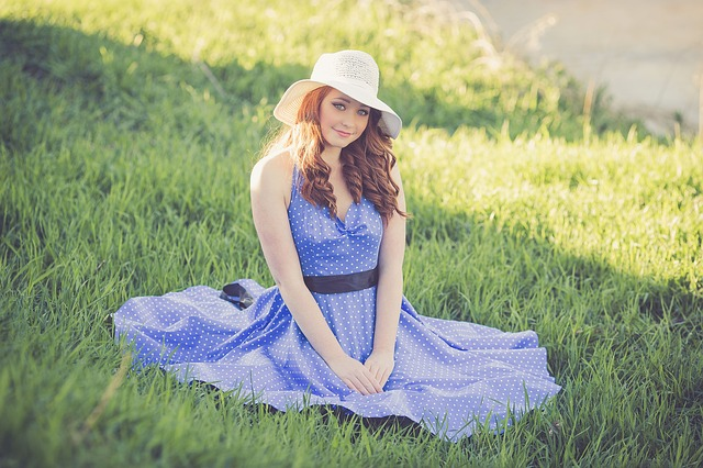 Blue, Dress, Hat, Grass, Girl, Female, Young, Spring