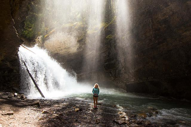 Cascade, Female, Person, Scenic, Sunlight, Water