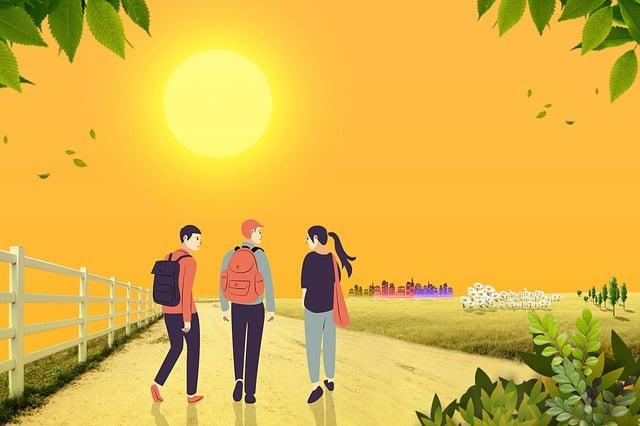 Wallpaper, Cartoon, Landscape, People, Fence, Walking
