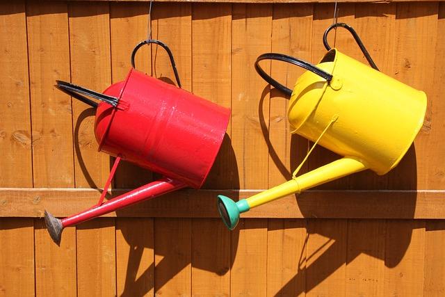 Watering Can, Garden, Farm, Fence