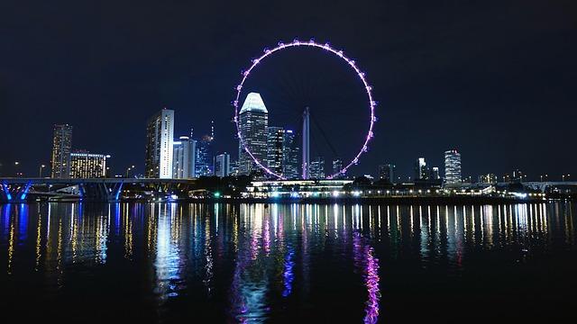 Singapore, Ferris Wheel, Big Wheel, River, Skyline