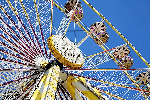 Ferris Wheel, Manege, Height, Attraction, Nacelle, Sky