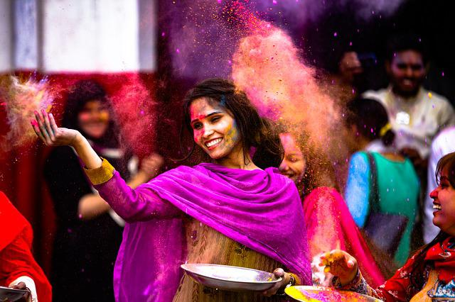 Holi, Girl, Indian, India, Dance, Fun, Paint, Festival