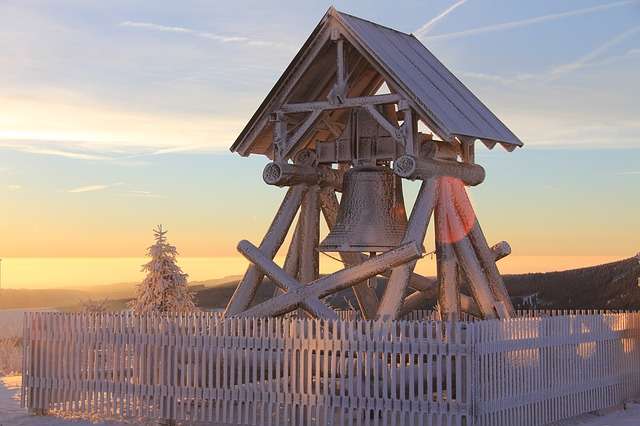 Fichtelberg, Ore Mountains, Peace Bell, Sunrise