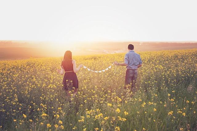 Canola, Couple, Field, Sunset, In Love, Walking, Dreamy