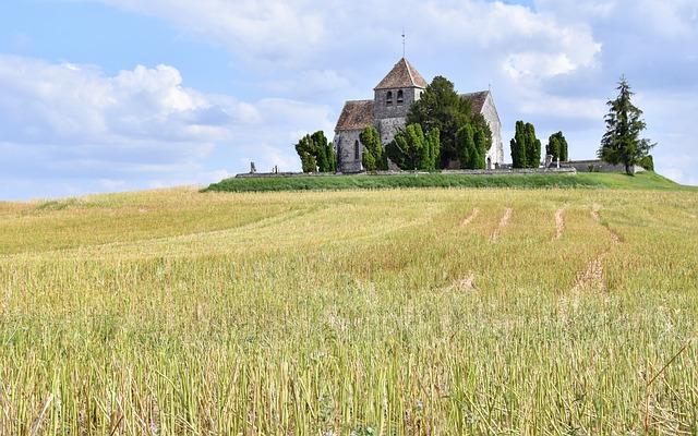Landscape, Church, Fields, Building, Field