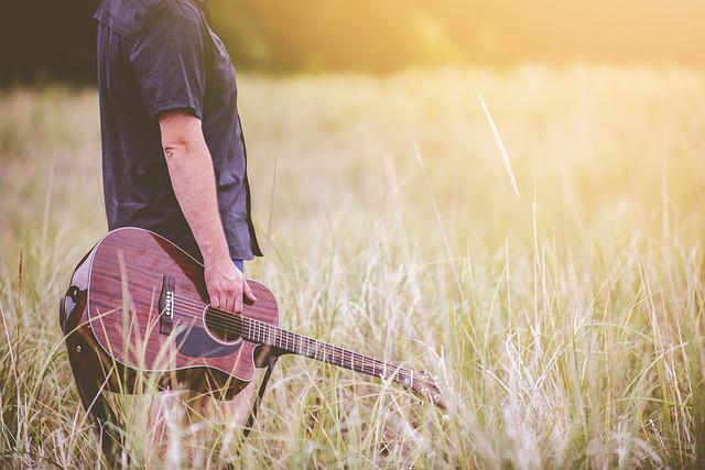 Countryside, Field, Grass, Guitar, Musical Instrument