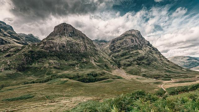 Mountains, Clouds, Fields, Mountain Range