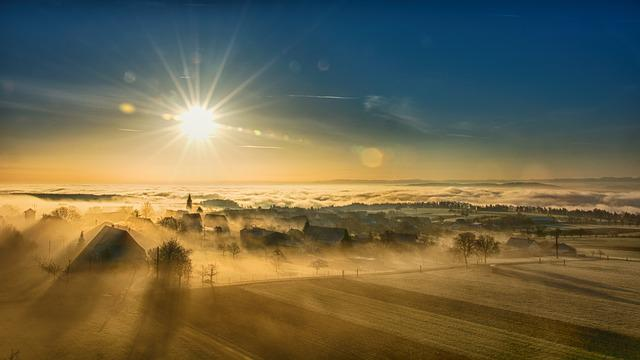 Village, Sunlight, Fields, Town, Townscape, Fog