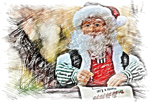 Christmas, Santa Claus, Drawing, Colorful, Fig