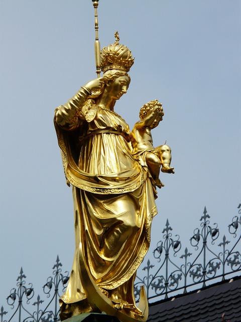 Marian Column, Still Image, Fig, Golden, Marienplatz