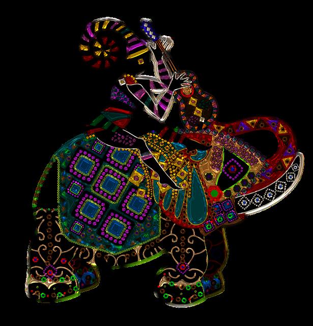 Elephant, Woman, Work, Glass, Metallizer, Art, Fig