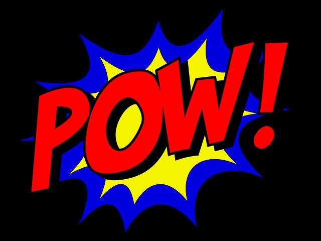 Pow, Comic, Comic Book, Fight, Explosion, Expletive