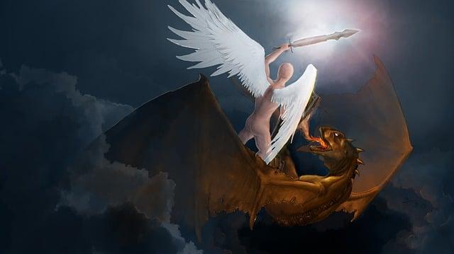 Michal, Angel, The Archangel, Dragon, Fight, Match