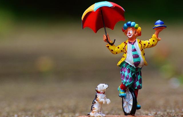 Clown, Funny, Unicycle, Screen, Dog, Cute, Figure