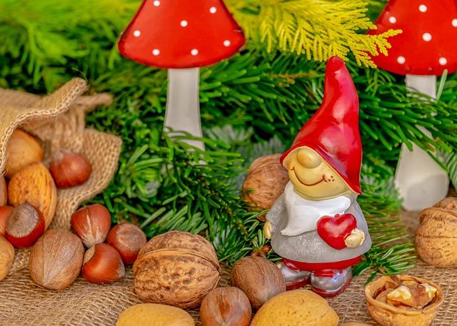 Christmas Motif, Imp, Figure, Dwarf, Fabric, Red