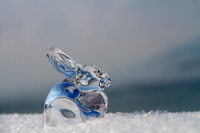 Easter, Hare, Glass, Easter Bunny, Figure, Snow