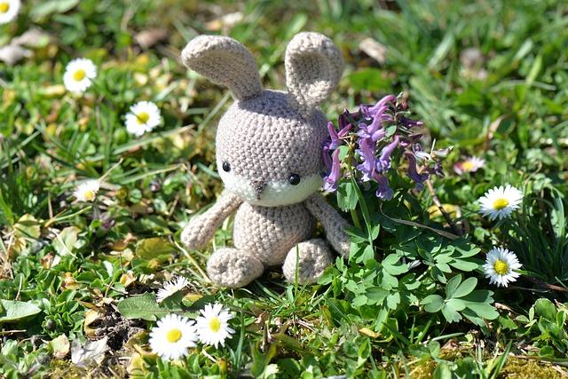 Easter Bunny, Crochet, Fabric, Figure, Flowers, Meadow