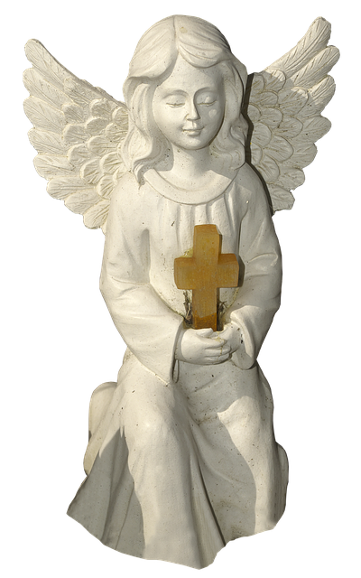 Figure, Angel, Cross, Kneeling, Cherub, Ceramic