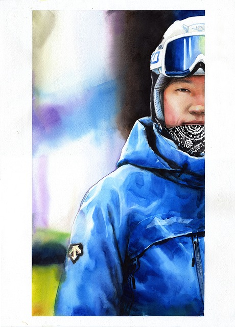 Watercolor Portrait, Man, Portraits, Figure, Ski