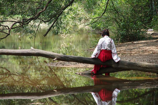 Figure, Iraqis, The Water's Edge, Woman, Red Dress