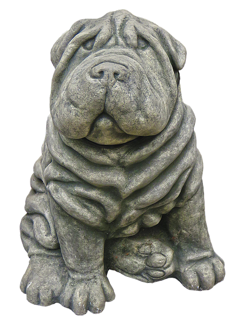 Dog, Figure, Wrinkled, Ceramic, Garden Figurines