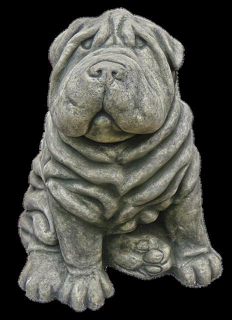 Dog, Figure, Wrinkled, Ceramic, Garden Figurines