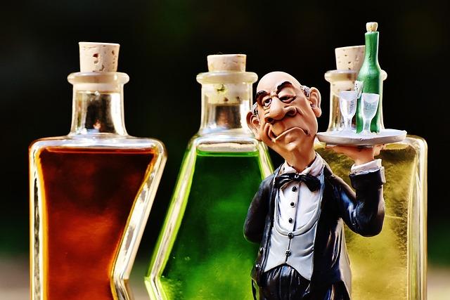 Waiter, Beverages, Bottles, Alcohol, Figures, Drink