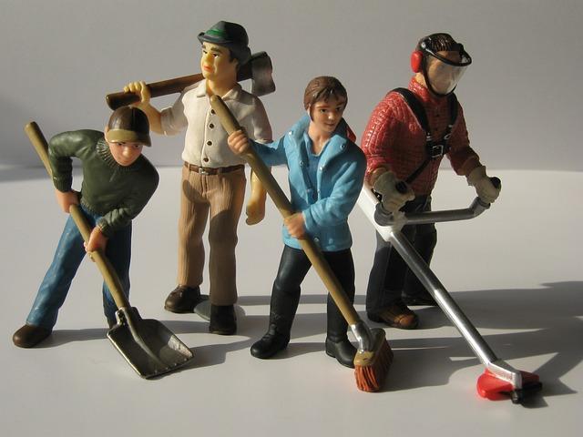 Workers, Figures, Dolls, Toys, Hauling, Scoop, Broom