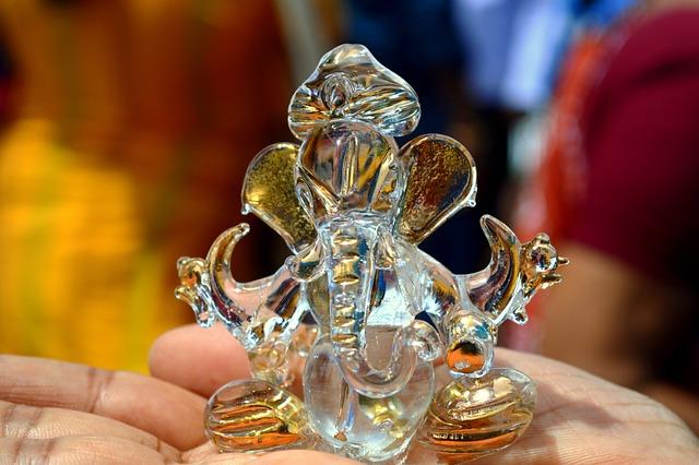 Ganesh, Hinduism, Figurine, Glass, Elephant, Tamil Nadu