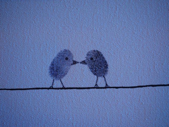 Thumbprint, Fingerprint, Birds, Love, Pair, Lovers