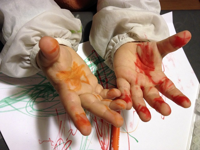 Child, Hands, Fingers, Painting, Palm Of Hand, School
