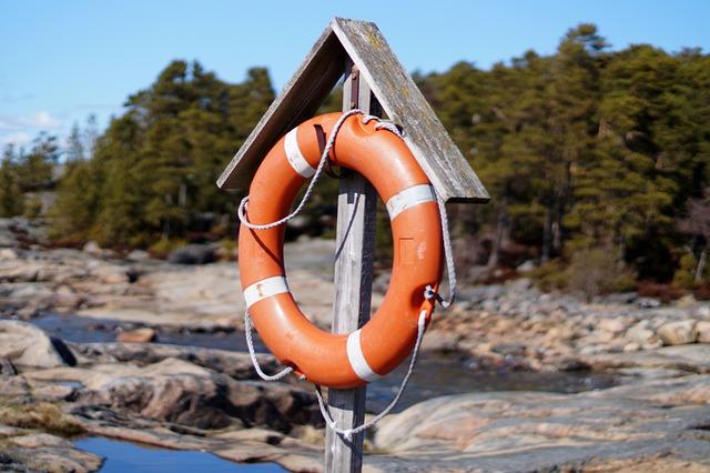 Lifebuoy, Finland, Beach, Forest, Water