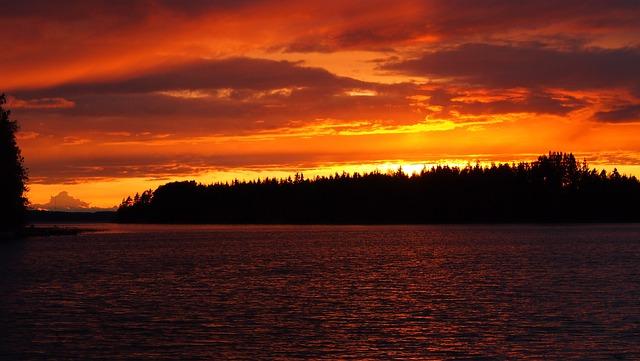 Sunset, Midsummer, Lake, Orange, Finnish, High Summer