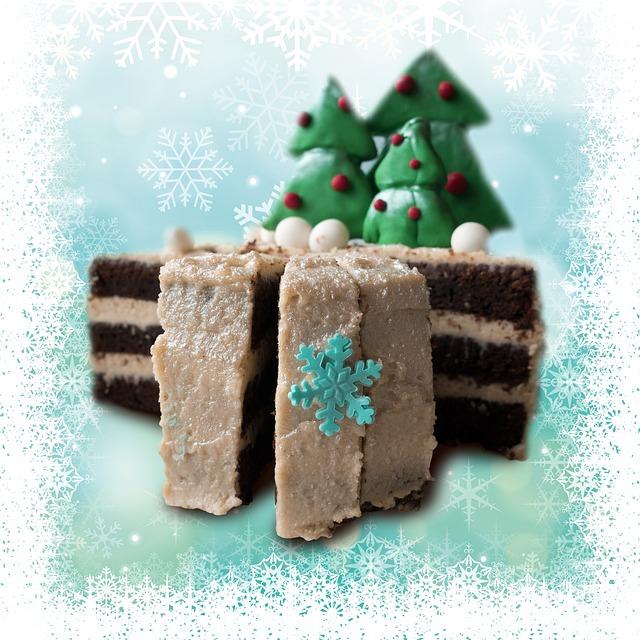 Cake, Christmas, Winter, Fir, Snow, Crystal, Delicious