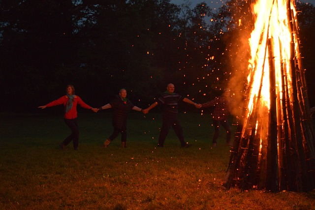 Fire, Bonfire, Dancing, People, Together, Big, Tall