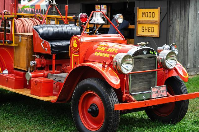 Fire Engine, Fire Truck, Red Car, Vintage Car