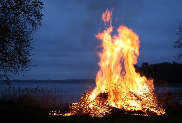 Fire, Flames, Bonfire, Sweden, Night, Evening, Outside