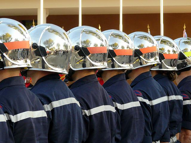 Firefighter, Helmet, Fire