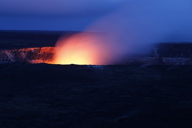Hawaii, Volcano, Hot, Fire, Night, Evening, Flames
