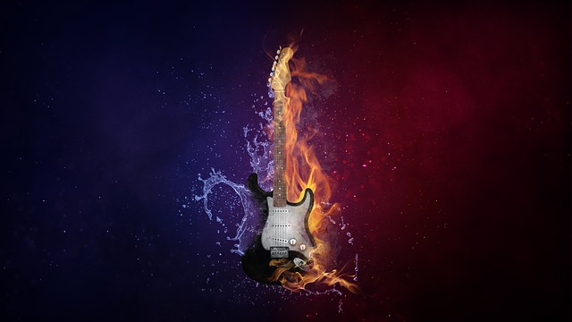 Guitar, Instrument, Music, Electro Guitar, Fire, Water