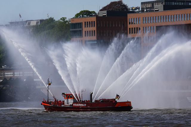 Fireboat, Fire Ship, Water Fountains, Port