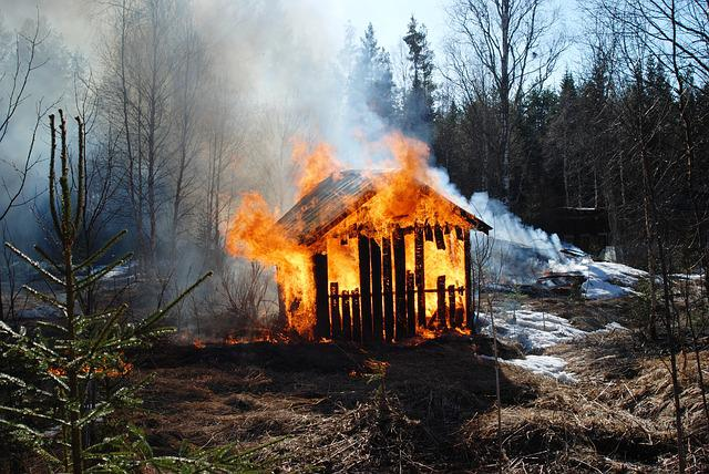 Fire, Barn, Spring, Forest