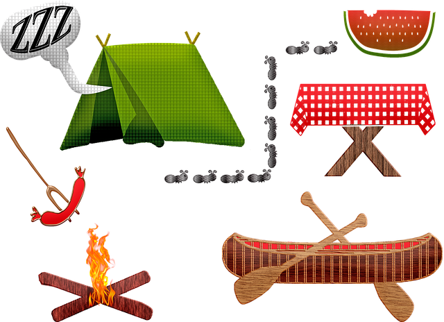 Camping Equipment, Tent, Canoe, Picnic Table, Fire