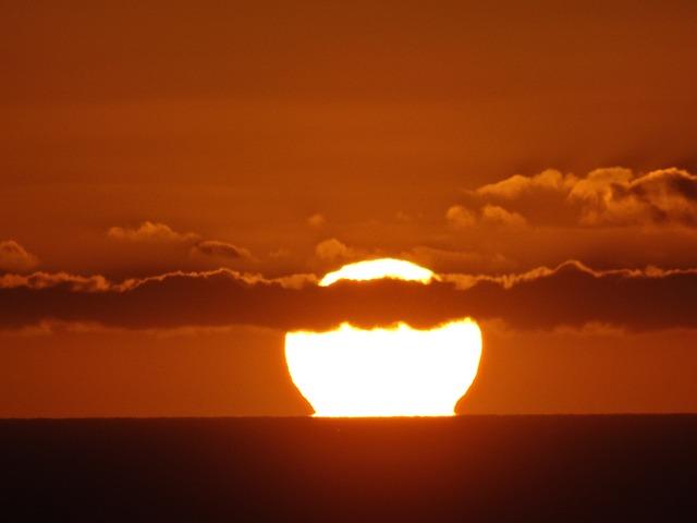 Sun, Fireball, Sunset Sea, Evening Sky, Abendstimmung